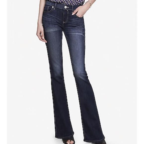 Express Denim - NWT Express Dark Mia mid rise slim flare jeans